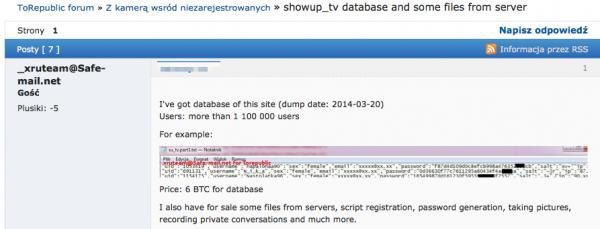 wykradziona baza danych showup.tv na sprzedaż
