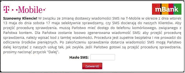 Komunikat, jaki ukazuje się zainfekowanym klientom mBanku