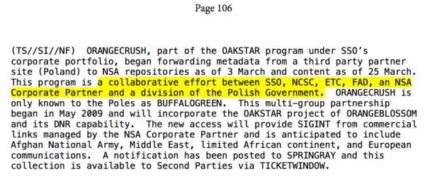 Depesza potwierdzająca współpracę NSA z Polską