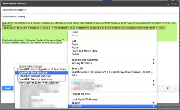 Szyfrowanie e-maila przy pomocy GPG poprzez systemowy dodatek GPG Tools
