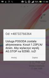 """SMS od """"usługi POGODA"""""""