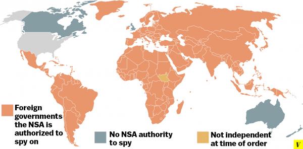 Gdzie NSA może szpiegować zgodnie z prawem