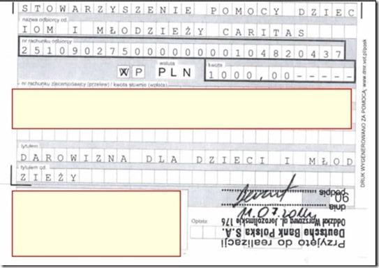 Potwierdzenie przelewu wpłaty 1000 PLN na dom dziecka, czyli wypełnienia warunku ugody przedsądowej