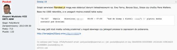 Post Polly Pocketa informujący o udostępnieniu bazy adresowej zawierającej dane m.in. polskich celebrytów.