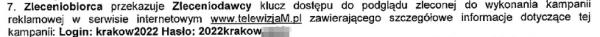 Jedna z umów zawierająca login i hasło do systemu Zleceniobiorcy