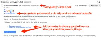 Phishing na GMaila - wiadomość wygląda bardzo wiarygodnie