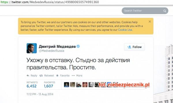 MedvedevRussia - konto na Twitterze premiera Rosji zhackowane?