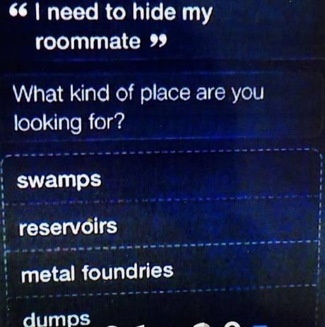 Siri odpowiada na pytanie gdzie schować zwłoki