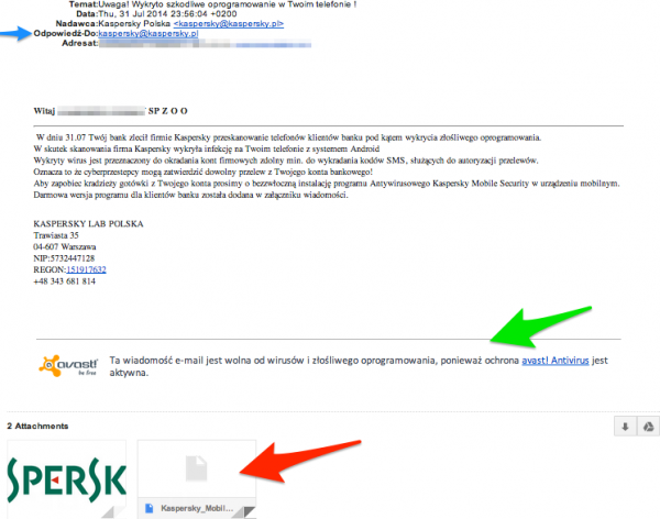 Kaspersky - fake mail
