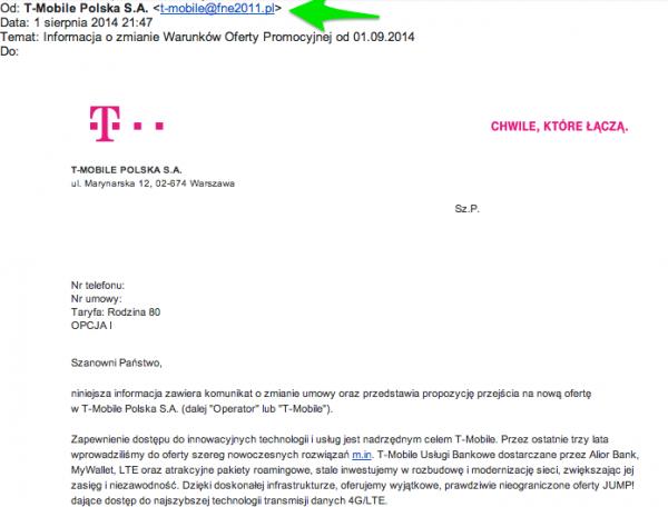 T-Mobile, prawdziwy e-mail z podejrzanej domeny, fot. rafał