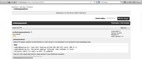 Unikalnypseudonim wykradł baze danych forum hakinq.pl