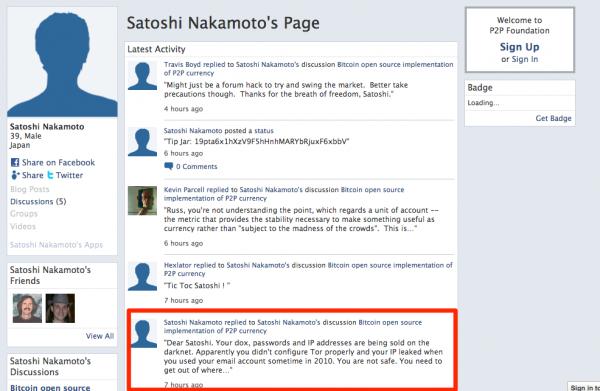 Zhackowane konto Satoshiego