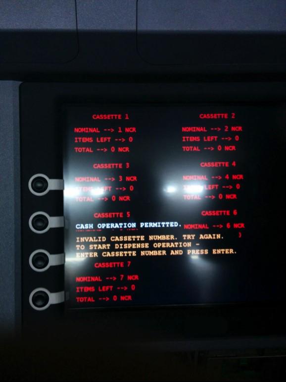 Ekran informujący o gotowości do wypłacania/wykradania gotówki