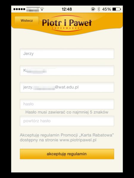 Pobranie danych klienta Piotra i Pawła na podstawie wygenerowanego kodu