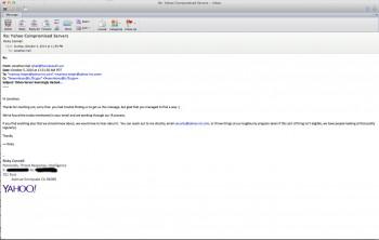 Odpowiedź Yahoo na zgłoszenie błędu