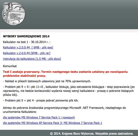Informacja o wynikach testów przedwyborczych
