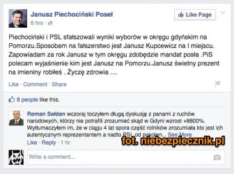 Facebook Piechocińskiego zhackowany