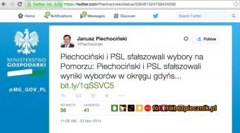 Janusz Piechociński Twitter hacked