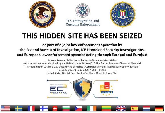 Komunikat zostawiony przez amerykańskie służby na zamkniętym serwerze