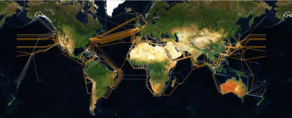 Mapa podsłuchiwanych światłowodów