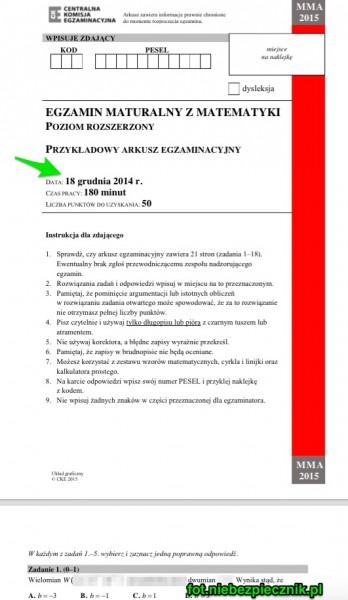 Arkusz egzaminacyjny dla rozszerzonej Matematyki, który ma być wykorzystywany za 2 dni