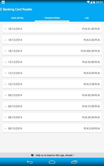 Karta mBanku - poprawnie zczytana historia transakcji