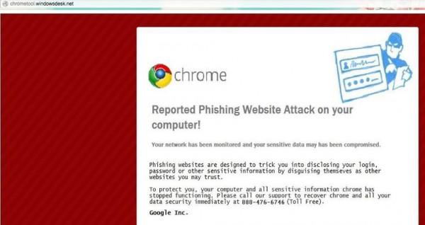 Google Chrome fake phishing