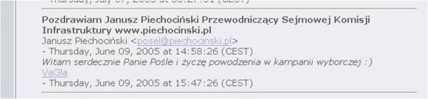 Wpis Janusza Piechocińskiego w księdze gości Piotra Waglowskiego