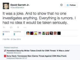 DavidGarrettJr i jego oświadczenie w sprawie wklejki którą FBI wzięło za komunikat od hackerów Sony