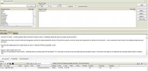 Analiza pamięci i fragment treści strony internetowej