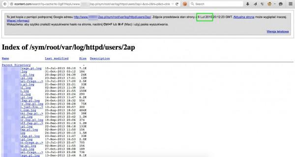 Cache wyszukiwarki Google wciąż pokazuje niektóre z udostępnianych zasobów