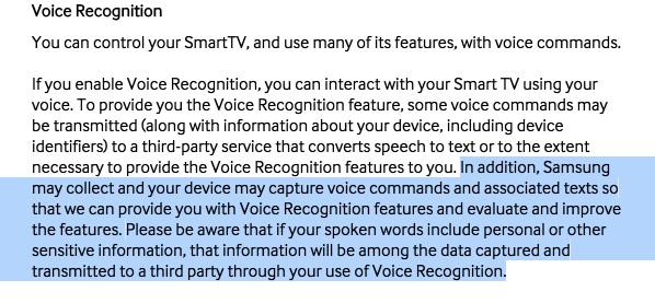 Ostrzeżenie Samsunga o rozmowie przed telewizorem ;)