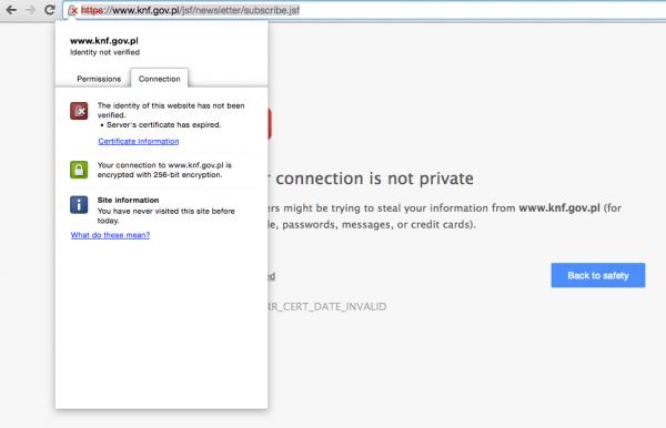 Błąd certyfikatu na stronie KNF