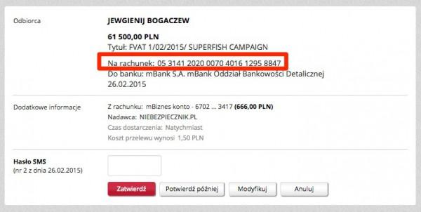 Zdjęcie 1. Przykładowa transakcja przelewu online. Problem może dotyczyć każdego banku. Numer rachunku zaznaczony na czerwono nie jest tym, na który dotrze przelew.