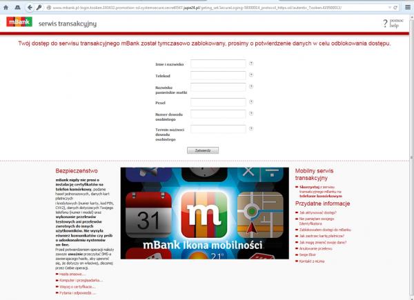 Wygląd strony fałszywego mBanku po podaniu jakichkolwiek danych logowania