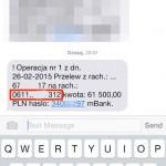 Kod SMS zawierający parametry potwierdzanej transakcji. Zwróć uwagę, że czy rachunek docelowy jest taki sam jak ten, który był widoczny na fakturze papierowej i ekranie podsumowującym przelew w przeglądarce na komputerze