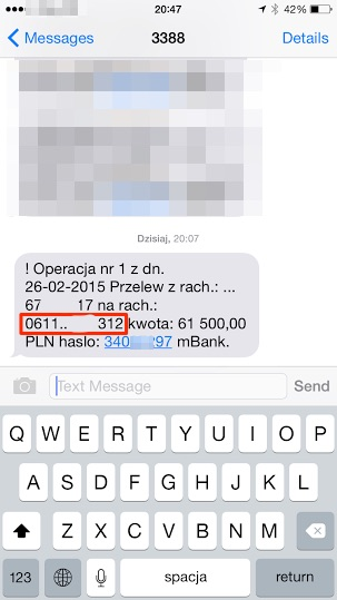 Zdjecie 2. Kod SMS zawierający parametry potwierdzanej transakcji. Zwróć uwagę, że rachunek docelowy jest inny niż ten, który był widoczny na Zdjeciu 1. prezentującym widok ekranu potwierdzenia transakcji. Kwota jest jednak taka sama.