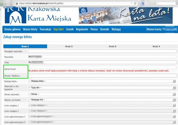 Widok formularza zakupu biletu ujawnia następujące dane