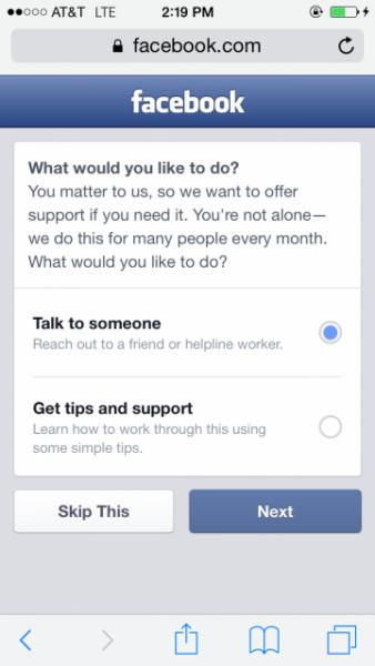 Wirtualna pomoc samobójcom świadczona przez Facebooka