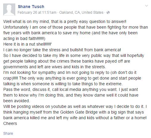 Eksperyment Shane'a - wpis o rzekomych myślach samobójczych