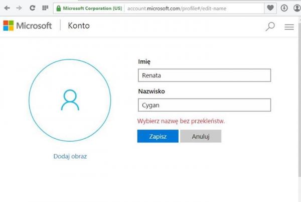 Microsoft nie dopuszcza do rejestracji Pani Cygan