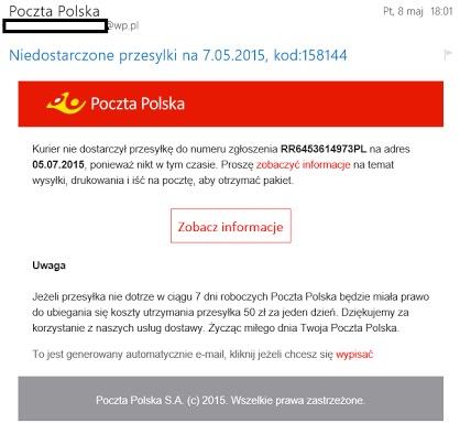 Fałszywa wiadomość od Poczty Polskiej