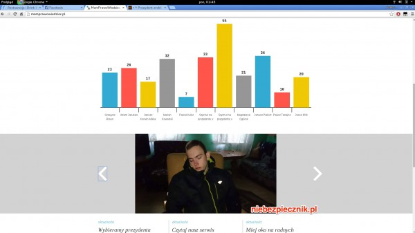 Podmieniona zawartość strony wskazanej przez prezydenta Bronisława Komorowskiego w debacie z Dudą