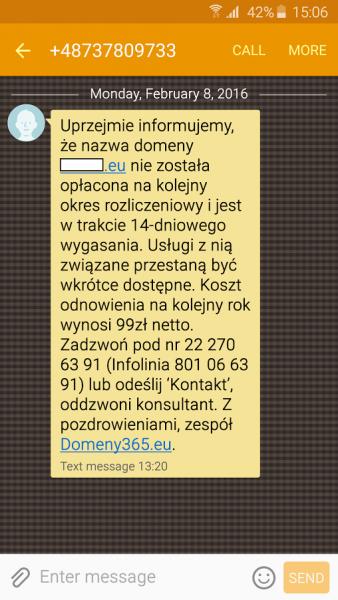 Wiadomość od domeny365.eu otrzymana przez kolejnego z czytelników