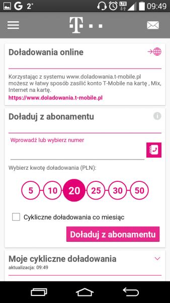 T-Mobile - możliwość dołądowania konta