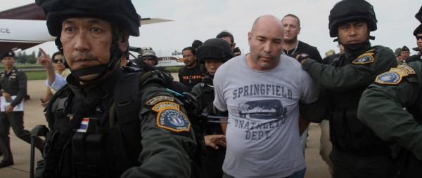 Joseph Hunter podczas aresztowania przez Tajlandzką policję