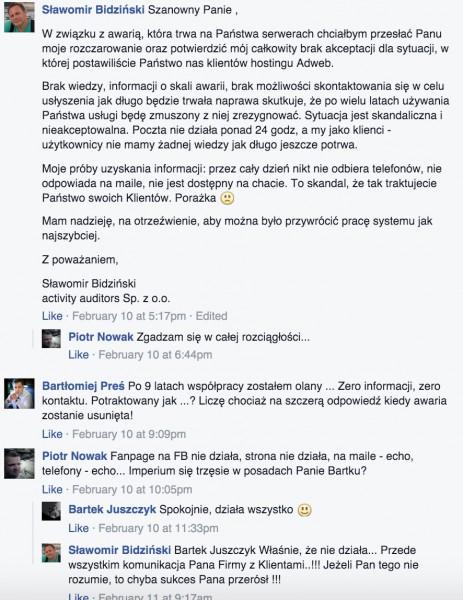 Żale klientów 2be.pl podczas  niedostępności usług na początku lutego 2016