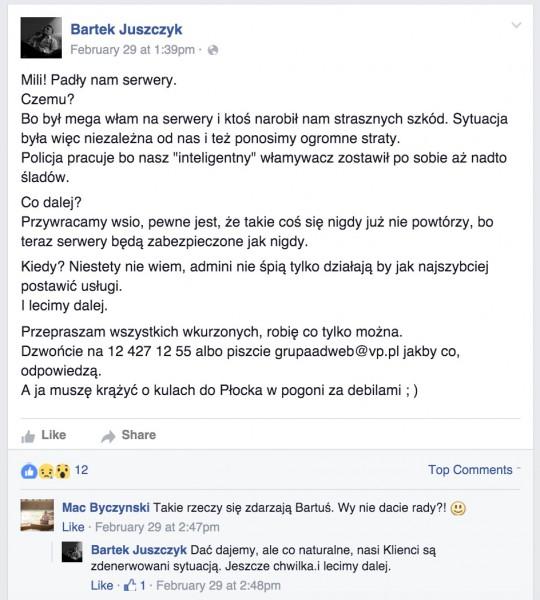 Oświadczenie Bartka Juszczyka, CEO Adwebu