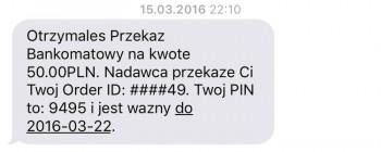 SMS jaki otrzymuje ODBIORCA szkolenia.