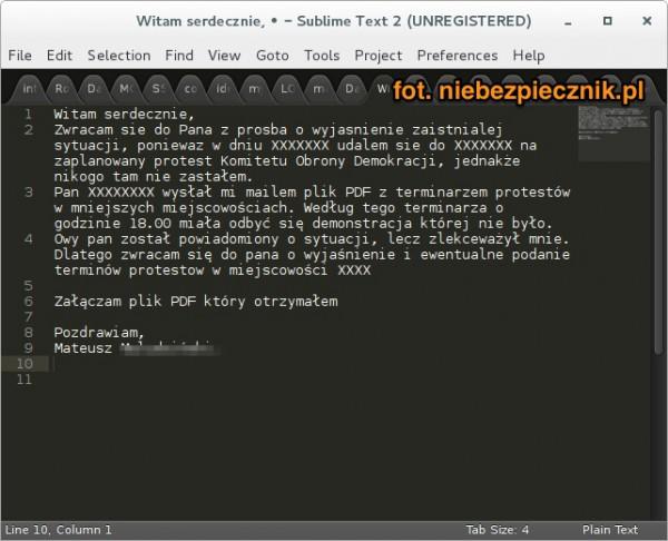 Treść e-maila, który nakłonił Mateusza Kijowskiego do otworzenia zainfekowanego załącznik